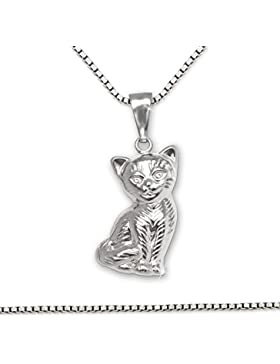 CLEVER SCHMUCK-SET Silberner Anhänger Katze sitzend, beidseitig plastische Form, Fell detalliert mit Kette Venezia...
