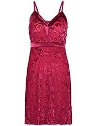 Slenderella GL8711 Womens Raspberry Red Floral Babydoll Slip Chemise