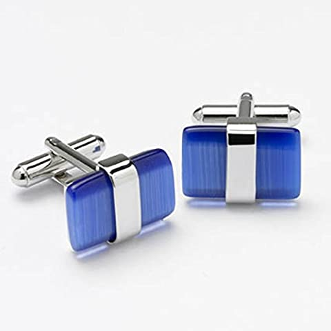 GB75211 - Bernex Cufflinks Blue Rectangle Cat Eyes Gents Complete with Gift Box