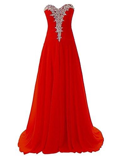JAEDEN Traegerlose Chiffon Lange Ballkleider Damen Formale Abendkleider Festkleid Rot
