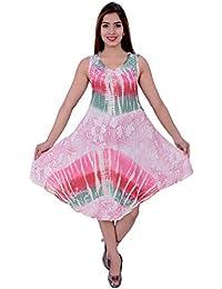 Dream Fashion Umbrella Cut Hand Tie Dyed Block Print Dress For Women