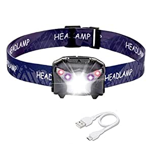 Rechargeable LED Headlamps, Coukou LED Head Torchs, 5 Modes, Super Bright CREE LED Head Lights, 200LM, IPX6 Water Resistant, Ideal for Camping, Hiking, Jogging, (USB Cable Included)