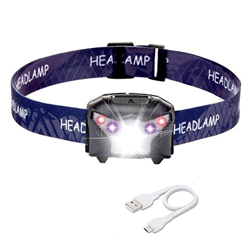 LED Stirnlampe, USB Wiederaufladbare LED Stirnlampe Kopflampe, Wasserdicht stirnlampe 200LM 1500mAH Sehr hell, leicht und bequem, Perfekt fürs Joggen, Gehen, Campen, Lesen, Laufen, für Kinder und meh