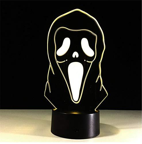 Led-Illusionslichter Halloween-Maske 3D-Illusionslichter Bunte Farbverlaufsatmosphäre-Lichter Kinderzimmer-Dekoration, Die Führende Nachtlichter 3D Beleuchtet