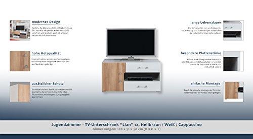 """Jugendzimmer – TV – Unterschrank """"Lian"""" 12, Hellbraun / Weiß / Cappuccino – Abmessungen: 100 x 51 x 50 cm (B x H x T) - 2"""