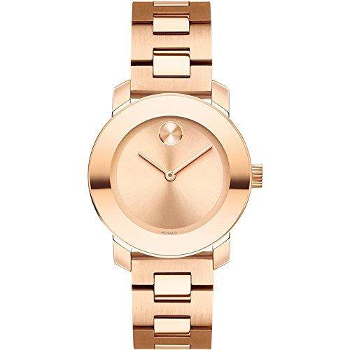 Movado Movado grassetto da donna 30mm IP oro rosa Cinturino & cassa quarzo rose oro-tono quadrante orologio 3600435