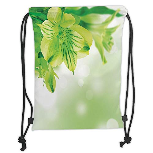 LULUZXOA Gym Bag Printed Drawstring Sack Backpacks Bags,Green,Fresh Lily Flower Bloom with Leaves Abstract Bokeh Backdrop Garden Plant,Lime Green Apple Green Soft Satinr (Lily Lime Green)