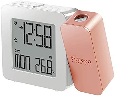 Oregon Scientific RM338P - Reloj despertador proyector con temperatura interior (Digital, AA, negro, rosa)
