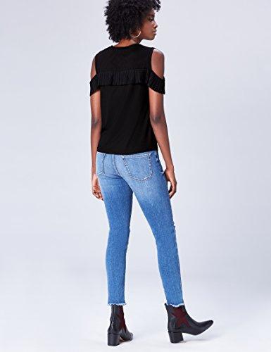 FIND Damen Cold Shoulder-Bluse mit Rüschen Schwarz (Black)