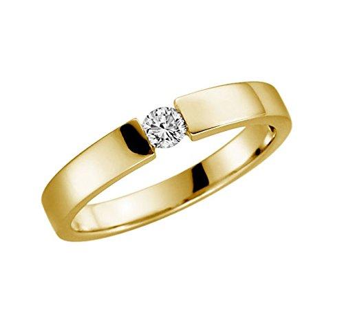 Verlobungsring 375 9 Karat Gelb oder Weißgold Antrag-Ring alle Größen von 48 bis 62 (9 Karat (375) Gelbgold, 57 (18.1)) (Ringe 9 Größe Damen Fashion)