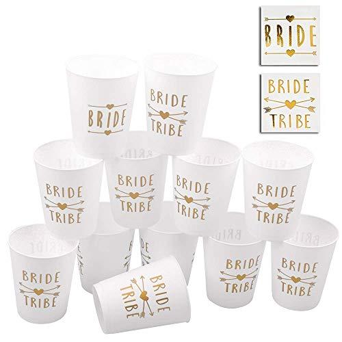 POAO 12 Packung Braut und Braut Tribe Party Cups,Bachelorette Party Tassen Dekorationen perfekt für Hochzeiten Brautduschen und Engagements (16oz)