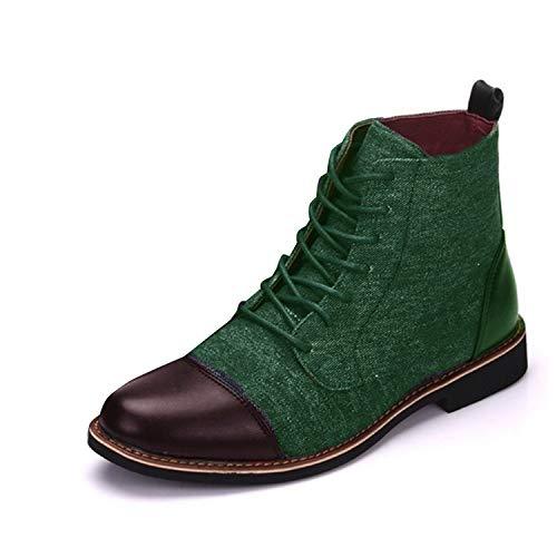 Minetom Herren Derby Schnürhalbschuhe Mode Farbblock Wildleder PU Sneaker Klassische Kurzschaft Stiefel Mokassins Anzugschuhe Business Schuhe Grün EU 38