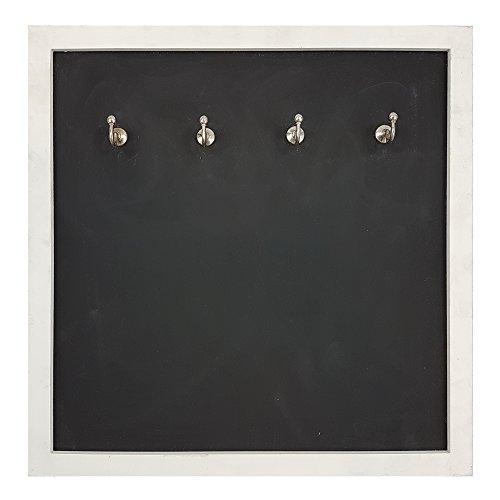 proheim Memo-Tafel mit Schlüssel-Haken Schlüssel-Brett 38 x 38 cm Kreide-Tafel aus Holz (Weiß)