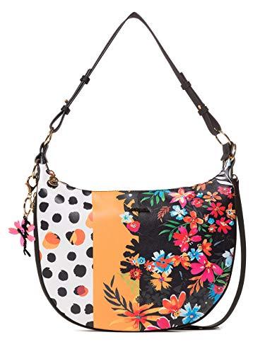 Desigual Bag Carmela Patch Siberia Women - Borse a tracolla Donna, Nero (Negro), 2.5x24.8x36.15 cm (B x H T)