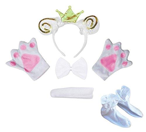 Petitebelle Kronen-Stirnband Bowtie Schwanz Handschuhe Schuhe 5pc Kostüm Einheitsgröße Weiß Goldenes Schaf Ziege Crown