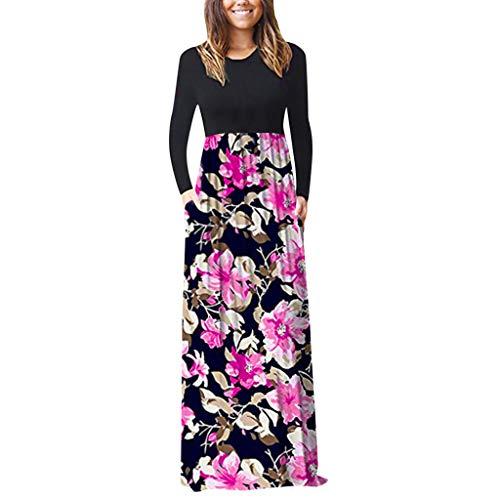 Zottom Rundhals Langarm Ärmel bedrucktes Kleid Frauen Casual Sleeve O-Neck Print Maxi Tank langes Kleid - Firma Fit Strumpfhosen
