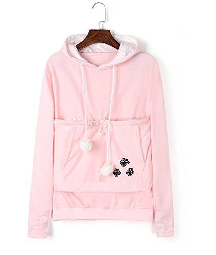 Women Plus Size Hoodies Long Sleeve Sweatshirt Big Pouch Känguru Beutel Träger Pullover Pink M
