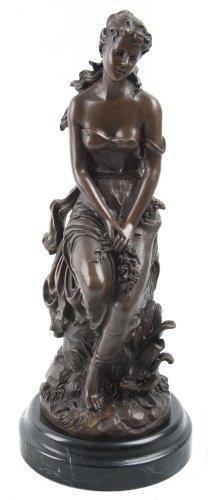 Scultura in bronzo donna su Base in marmo, le reve hippolyte-francois Moreau