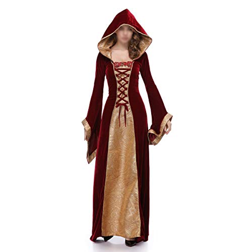 YCLOTH Cosplay Kostüm, 2019 Retro Court Kostüm, Nachtclub Halloween Show Queen Anzug Langarm mit Kapuze Maxi-Kleid-red-XL (Halloween 2019 Amerika)