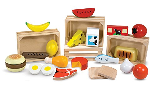 Image of Melissa & Doug 271 Food Groups - 21 Hand-Painted Wooden Pieces and 4 Crates