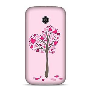 INKIF Love Tree Design Lovers Design Designer Case Printed Mobile Back Cover for Motorola E (1st Generation)(Pink )