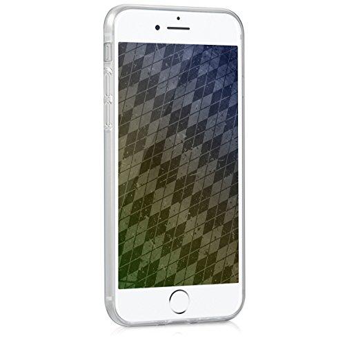 kwmobile Hülle für Apple iPhone 7 / 8 - TPU Silikon Backcover Case Handy Schutzhülle - Cover klar Ananas Strauch Design Rosegold Transparent Mosaik Dunkelblau Petrol Beige