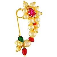 GirlZ! Traditional Maharashtrian (Non Pierced) Nath Nose Ring Pink Colour Stone Along with Pearl Beads for Women - Small…