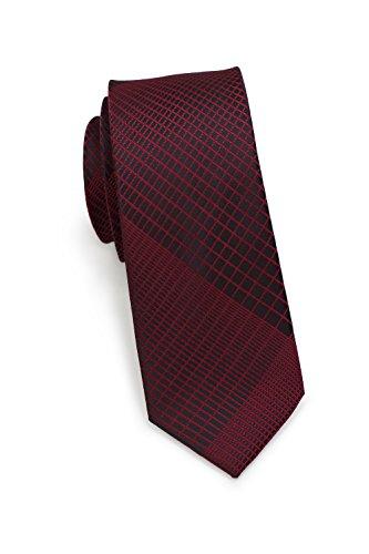 Trendige Krawatte vom jungen Label Puccini, modernes Netz-Muster in verschiedenen Farben, Mikrofaser, 6 cm, Handarbeit (Weinrot)
