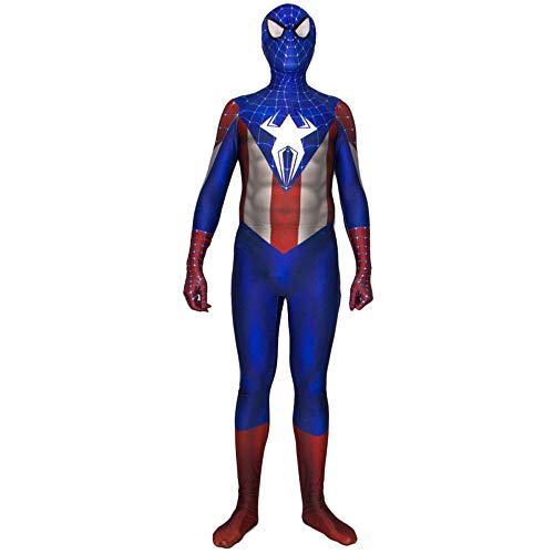 QQWE Spiderman Cosplay Kostüm Halloween Full Body Onesies Spandex Overalls,A-S