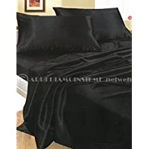Completo MATRIMONIALE RASO NERO set lenzuola sopra sotto con angoli 2 fodere cuscini