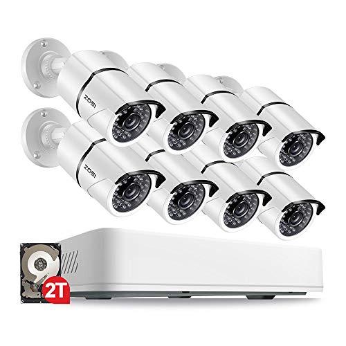 ZOSI 8CH 5MP 1920P Ultra HD Überwachungskamera System 2TB HDD 8 Kanal 5MP HDMI DVR Recorder mit 8 Wetterfest 5.0Megapixel Außen Video Kamera Set Bewegungsmelder 30M IR Nachtsicht Usb-hdd Dvr