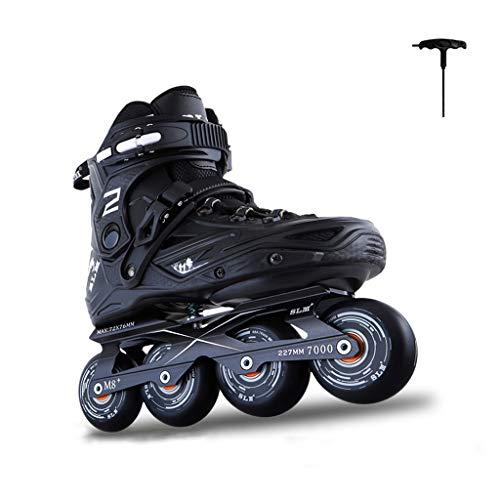 JIANXIN Inline-Skates, Adult Outdoor Roller Derby-Skates Geeignet Für Frauen, Jugend, Anfänger Skating, Schwarz (Size : EU 43) -