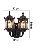 ANSTRK European Wall Lamp Outdoor Waterproof Wall Hanging Lamp Balcony Lamp Aisle Lights Garden Lights Glass Antique Wall Lamp Exterior Wall Lamp Wall Sconce (Color : Black, Size : Double heads)