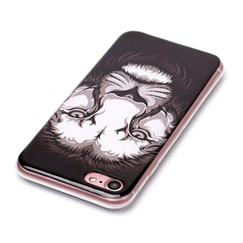 SZHTSWU® Hülle für iPhone 7, Ultra Slim Thin Weiche TPU Ultradünn Soft Silikon Schutzhülle Case Transparent Clear Flexible Rückschale Back Cover Etui Handy Hülle Bumper Abdeckung für Apple iPhone 7, E Löwe
