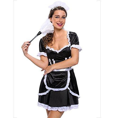 Liu Sensen Dessous Für Frauen Sexy Dessous Schwarz Dienstmädchen Outfit Dienstmädchen Uniform Krankenschwester Uniform Französisch Zofe Dessous Cosplay Oktoberfest Kostüm Show Kleidung,M