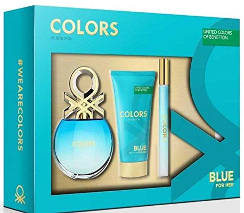 BENETTON COLORS BLUE EDT 50 ML + BODY MILK 75 ML + MINI EDT 15 ML SET REGALO