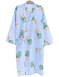 YTFOPLK Fresco Cactus Primavera Batas De Quimono Mujeres Manga Larga Simple Camisón Algodón Kimono Albornoces Japoneses