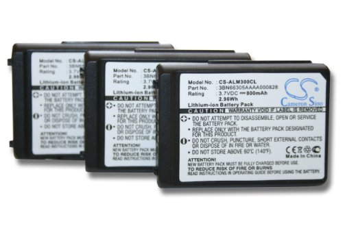vhbw 3x Li-Ion Akku Set 800mAh (3.7V) für schnurlos Festnetz Telefon Alcatel Mobile 300 DECT, Mobile 400 DECT wie 3BN66305AAAA000828.