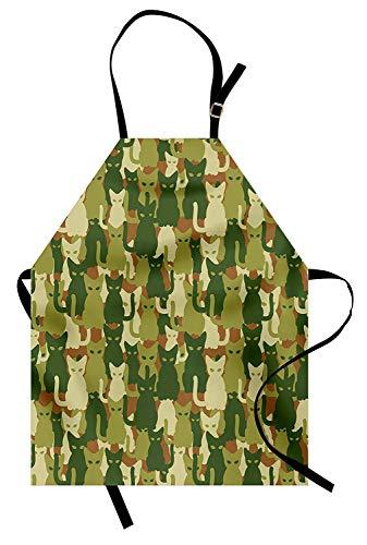 Camo Schürze, Kätzchen Silhouette Schutz Cat Theme im Dschungel Farben Tier Silhouetten, Unisex-Küche Latzschürze mit verstellbarem Hals zum Kochen Backen Gartenarbeit, grüne dunkelgrüne Creme -