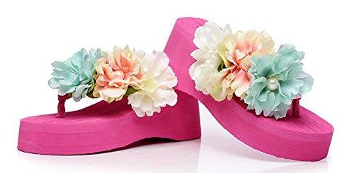 Aisun Femme Mode Clip Toe Fleurs Plage Tongs Rouge