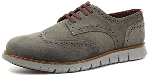 London Brogues Gatz Herren Wildleder Derby Halbschuhe, Grau, Größe 43 Wing Tip Oxford Lace