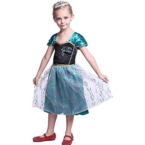 Anladia - Disfraz de Anna Frozen Coronación deluxe para niña Talla S M L XL 100-140cm (120cm)