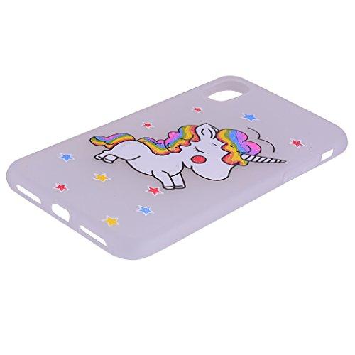 Per iPhone X Cover , YIGA nero unicorno Silicone Morbido TPU Case Shell Caso Protezione Custodia per Apple iPhone X (5,8 pollici) white