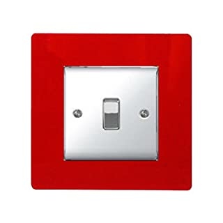 SINGLE LIGHT SWITCH SOCKET COLOURED ACRYLIC SURROUND FINGER PLATE - BUY 2 GET EXTRA 1 FREE (10 COLOURS) (Red)