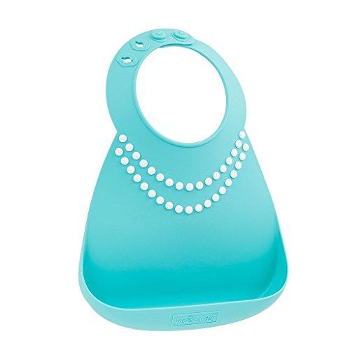 Make My Day-Baby-Bavaglino in silicone, con perline, colore: blu/bianco