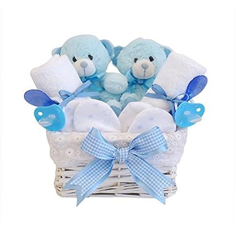 Angelo Twin Cestino regalo bambino/bambino Cesto di vimini bianco Baby Shower Regalo/nuovo arrivo regalo/Ricordi per (Cesti Bambino Di Vimini)