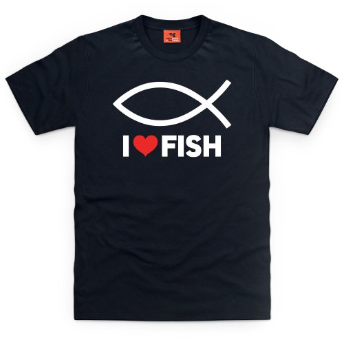 Fish T-Shirt, Herren Schwarz