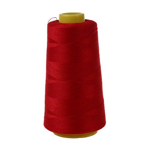 SODIAL Durable 3000 Yardas De MáQuina De Coser Overlock De PoliéSter Industrial Medidor De Hilo Conos Color PoliéSter Hilo De Coser (Rojo)
