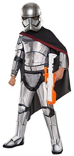Star Wars 7 Kostüm Kinder Captain Phasma deluxe 4-tlg Overall Cape Gürtel Maske silber - (Kostüm Stormtrooper Commander)