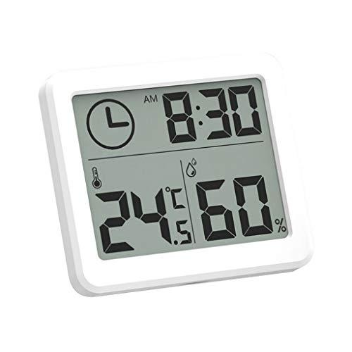 Wetterstation Innenthermometer Hygrometer Digital LCD ° C / ° F Luftfeuchtigkeitsmessgerät Alarm Wetterüberwachung Uhren (Color : White, Größe : 8 * 1 * 7cm)